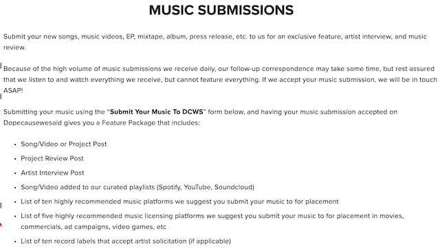 blogs submit music