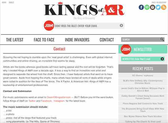 Kings of A & R music blog blogs submit music